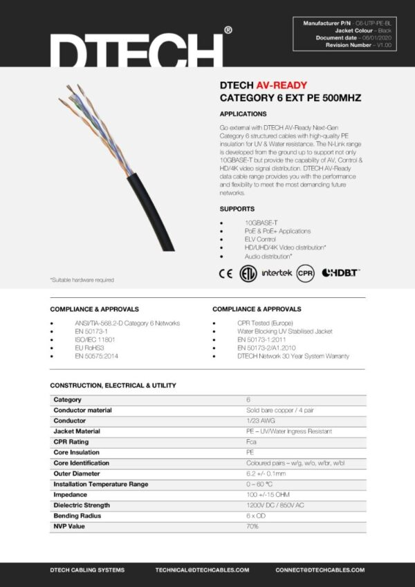 DTECH Cat 6 HDBaseT 500MHZ AV Ready PE/EXTERNAL – 305M REEL (Black)