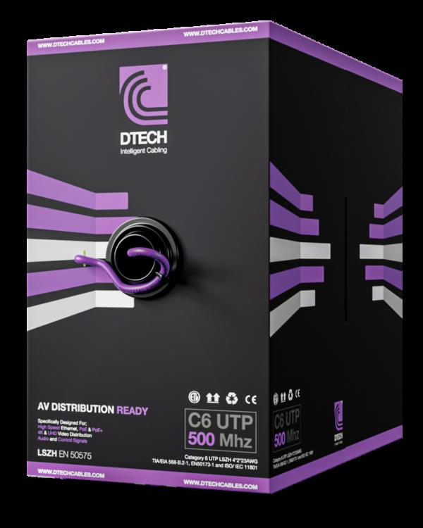 DTECH Cat 6 HDBaseT 500MHZ AV Ready LSZH – 305M BOX (Violet)