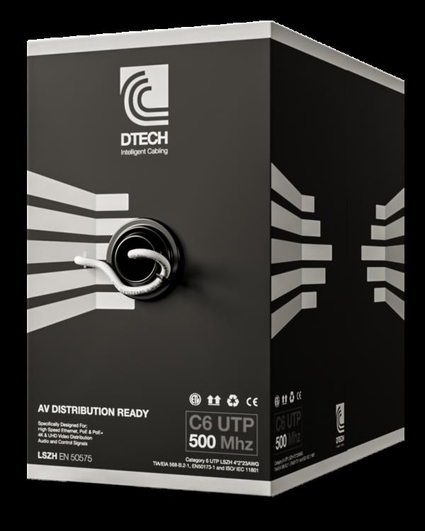DTECH Cat 6 HDBaseT 500MHZ AV Ready LSZH – 305M BOX (White)