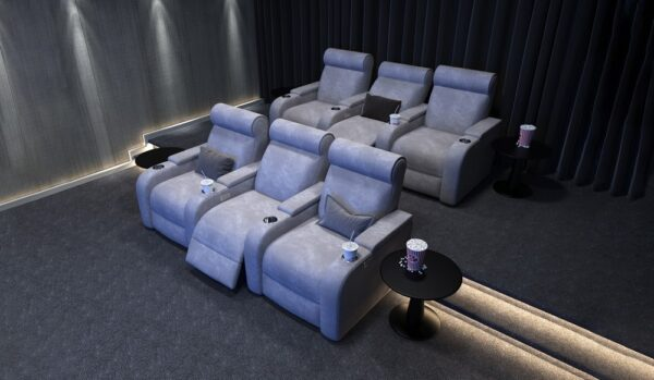 Paramount + 4 Faux Suede Cinema Seats